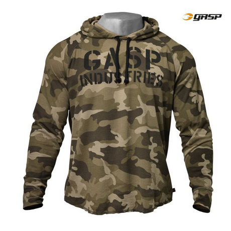 Кофта с капюшоном GASP Long Sleeve Thermal Hoodi, Green Camo Print