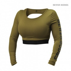 Топ с длинными рукавами Better Bodies Chelsea Cropped L/S, Military Green